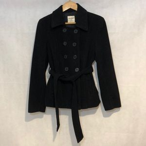 Old Navy Black Double Breasted PeaCoat size L